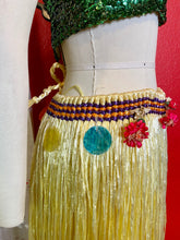 Load image into Gallery viewer, Vintage Hula Dancer Skirt • Vintage Yellow Raffia Dance Skirt with Shells & Flowers