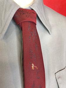 "Vintage 1950s Mens Tie • Red Dacron Necktie with Tiny Fisherman Embellishments • 53"" Long"