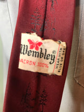 "Load image into Gallery viewer, Vintage 1950s Mens Tie • Red Dacron Necktie with Tiny Fisherman Embellishments • 53"" Long"