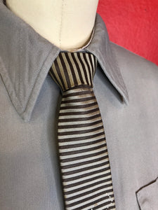 "Vintage 1950s Mens Tie • Rayon Black and Silver Stripes Necktie • 54"" Long"