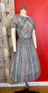 Vintage 1960s Dress • Gray, Pink & Blue Chevron Print Sun Dress • Small