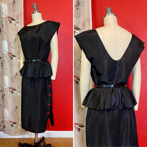 Vintage 1980s Dress • 1980s Does 1940s Style Peplum Waist Black Dress with Red Buttons • Large