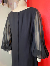 Load image into Gallery viewer, Vintage 1960s Dress • Sheer Balloon Sleeve Little Black Dress • Large