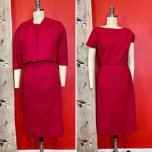 Load image into Gallery viewer, Vintage 1950s/1960s Dress Set • Fuchsia Pink Wool Wiggle Dress & Matching Blazer Set • Extra Small