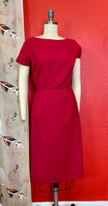 Vintage 1950s/1960s Dress Set • Fuchsia Pink Wool Wiggle Dress & Matching Blazer Set • Extra Small