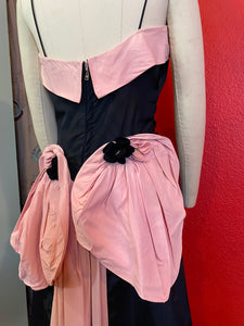 Vintage 1940s Dress • Black & Pink Back Bustle Gown by Fred Perlberg Dance Originals • Small