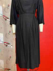Vintage 1950s Dress • Black Textured Little Black Wiggle Dress • Large