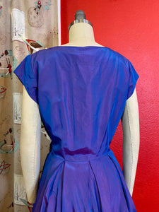 Vintage 1950s Dress • Iridescent Sapphire & Violet Rhinestone Dress • Medium