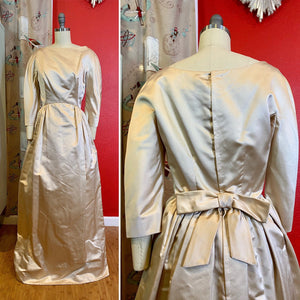 Vintage 1950s Dress • Champagne Satin Floor Length Gown • Small