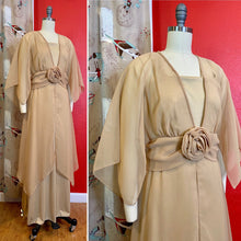 Load image into Gallery viewer, Vintage 1970s Dress • Emma Domb Gold 1970s Does 1910s Edwardian Inspired Gown • Medium