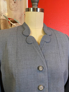 Vintage 1950s Jacket • Slate Blue Wool Cropped Blazer with Rhinestone Buttons • Small to Medium