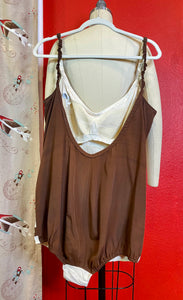 Vintage 1950s Swimsuit • DeWeese Designs Brown and White Color Block One Piece Pinup Bathing Suit • Extra Large