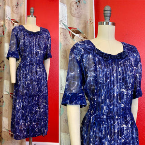 Vintage 1940s Dress • Sheer Blue Rose Chiffon Day Dress • Extra Large