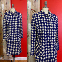 Load image into Gallery viewer, Vintage 1960s Suit • Royal Blue Houndstooth Blazer & Skirt Set • Medium