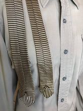 "Load image into Gallery viewer, Vintage 1950s Mens Tie • Rayon Black and Silver Stripes Necktie • 54"" Long"