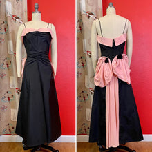 Load image into Gallery viewer, Vintage 1940s Dress • Black & Pink Back Bustle Gown by Fred Perlberg Dance Originals • Small