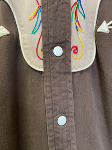 Vintage 1940s 1950s Shirt • Men's Gabardine Western Shirt Two Tone Brown with Rainbow Stitching • Medium Large
