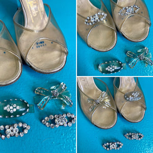 "Vintage 1950s Shoes • Clear Lucite ""Glass Slippers"" Style Heels with Box & Extra Gems • US 6"