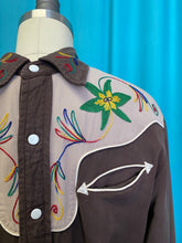 Load image into Gallery viewer, Vintage 1940s 1950s Shirt • Men's Gabardine Western Shirt Two Tone Brown with Rainbow Stitching • Medium Large