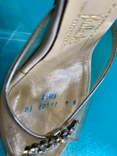 "Load image into Gallery viewer, Vintage 1950s Shoes • Clear Lucite ""Glass Slippers"" Style Heels with Box & Extra Gems • US 6"