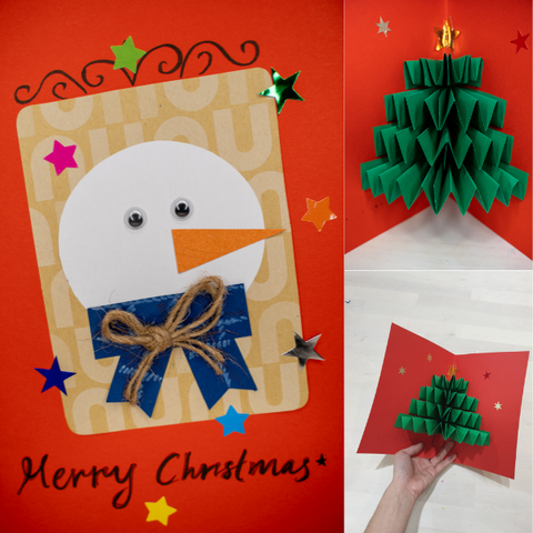 craft christmas card 3D pop-up for kids