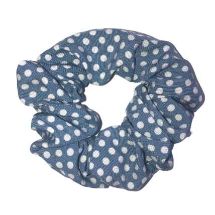 Blue Polka Dot Pouch Scrunchie