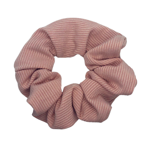 Pink Ribbed Pouch Scrunchie