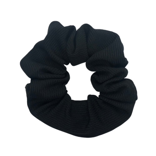 Black Ribbed Pouch Scrunchie