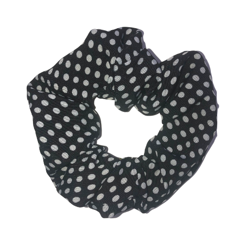 Black Polka Dot Pouch Scrunchie