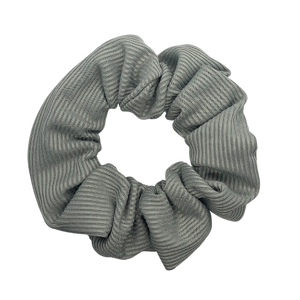Grey Ribbed Pouch Scrunchie