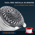 Universal Shower Head with Adjustable built-in Swivel