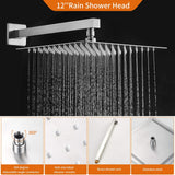 High Pressure 12 inch Rain Shower System Complete Set