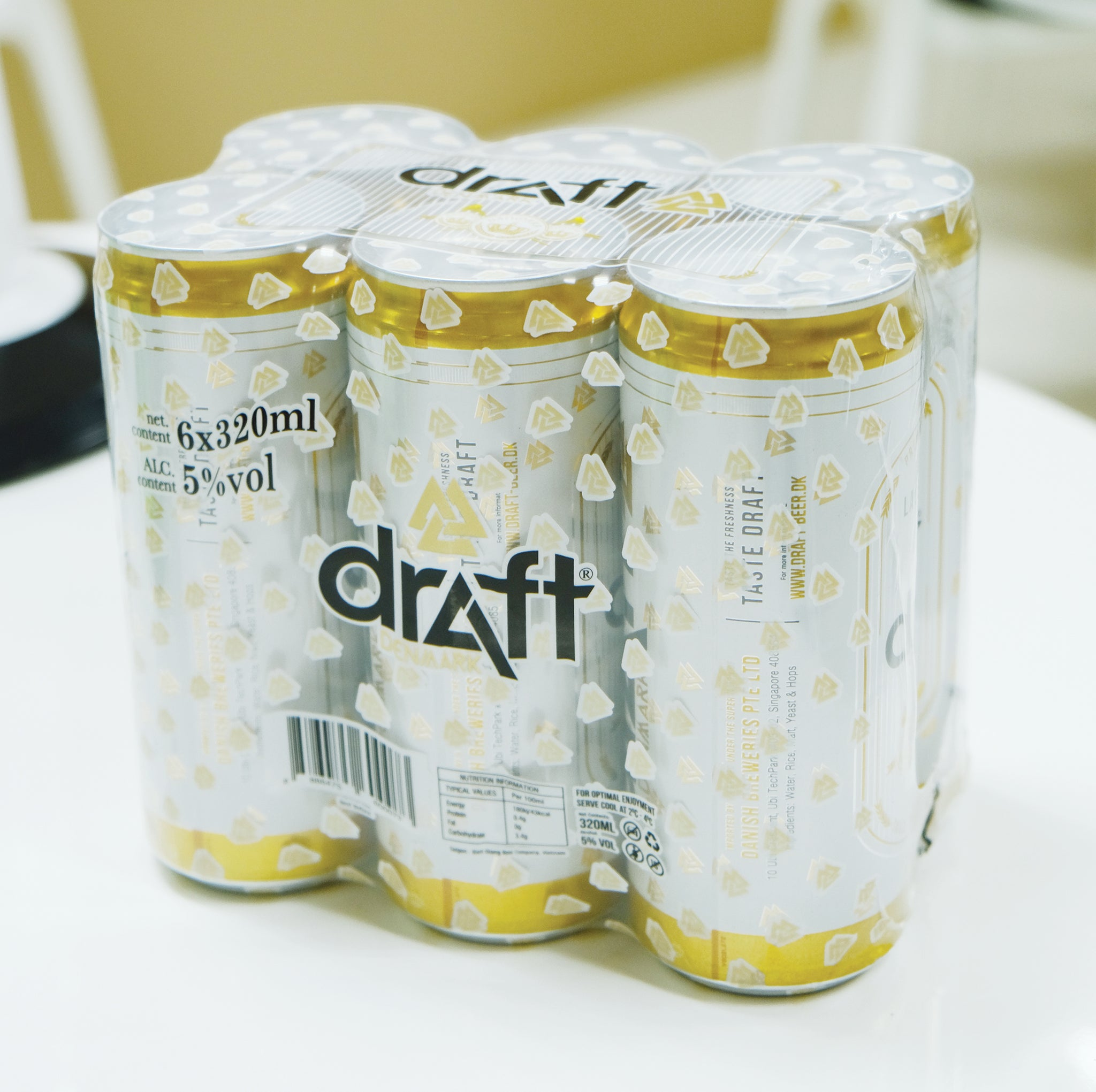 Draft Denmark Lager - Slim Can - 320ml Can - 6 Pack