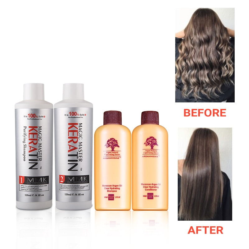 Best Selling Without Formalin Repair Damaged&Straighten Hair 120ml Magic Master Keratin+120ml Purifying Shampoo+Travel Suit|Hair & Scalp Treatments