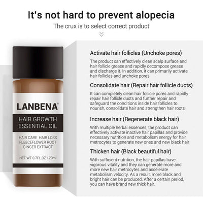 LanBeNA Powerful Hair Growth Essential Oil | Hair Thickening Ginger Ginseng Extract
