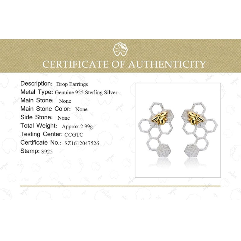 Elegant 925 Sterling Silver Honeycomb with 18K Gold Bee Earrings Stud