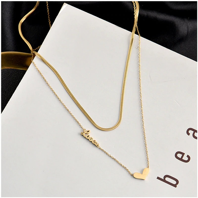Elegant 2 Layer Heart-Love Choker Snake Necklace for Girl & Women