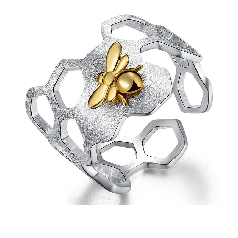 Elegant 925 Sterling Silver with 18K Gold Bee Honeycomb Rings for Girls & Women