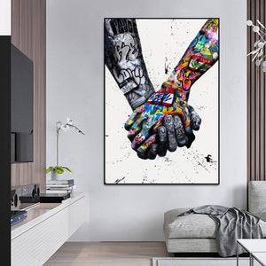 Opera Street Graffiti Art Canvas Painting Lover Hands Art