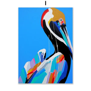 Opera Colorful Flamingo Zabra Elephant Animal Wall Art Canvas
