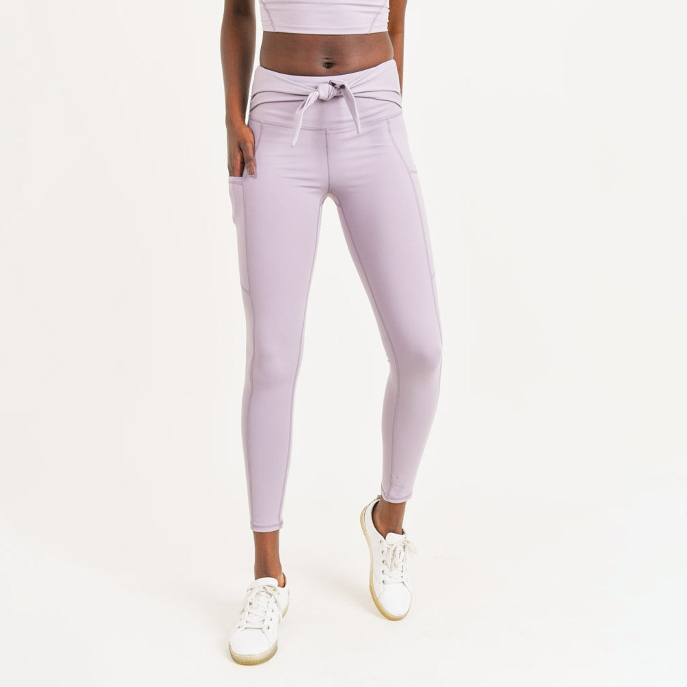 Tie- Front Leggings With Pockets