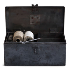 A wonderful 1940s heavy-duty metal work box in stripped steel; fitted with two internal square-shaped steel trays, carrying handle and a hasp for a padlock. Its uses are numerous, and extend from tool storage to artists paints and brushes, to the housing of household items such as scissors, measures and string.