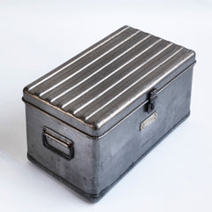 A very handsome 1940s military heavy-duty metal work box in stripped steel. The box is fitted with two internal rectangular steel trays; twin carrying handles and a hasp for a padlock. A very handsome 1940s military heavy-duty metal work box in stripped steel. The box is fitted with two internal rectangular steel trays; twin carrying handles and a hasp for a padlock.