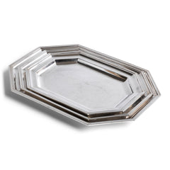 "A magnificent set of three graduated silver-plated hotel ware silver platters with raised picture-frame borders and chamfered corners. Each is stamped on the underside ""Unity A1 Plate Made in England"". Well-proportioned, with a good weight, and beautifully designed, they are a joy to use and are the making of a good meal - and would make a stylish addition on today's table.  Splendid for that Christmas turkey or goose."