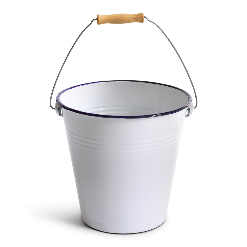 Our enamel bucket is made from thick gauge steel and is coated in white enamel with a blue enamelled rim.  It is just-the-job for all your mopping-up chores and also doubles-up as a useful kitchen waste bin. It also makes the perfect office waste-paper bin or Christmas tree bucket. A good bucket is a highly useful friend - and this one has all the good-looks too.