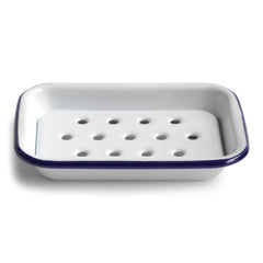 Our blue-rimmed white enamel soap dish is a must for any scullery, kitchen or water closet - and it has a removable drainage tray, which is essential for keeping the soap dry.
