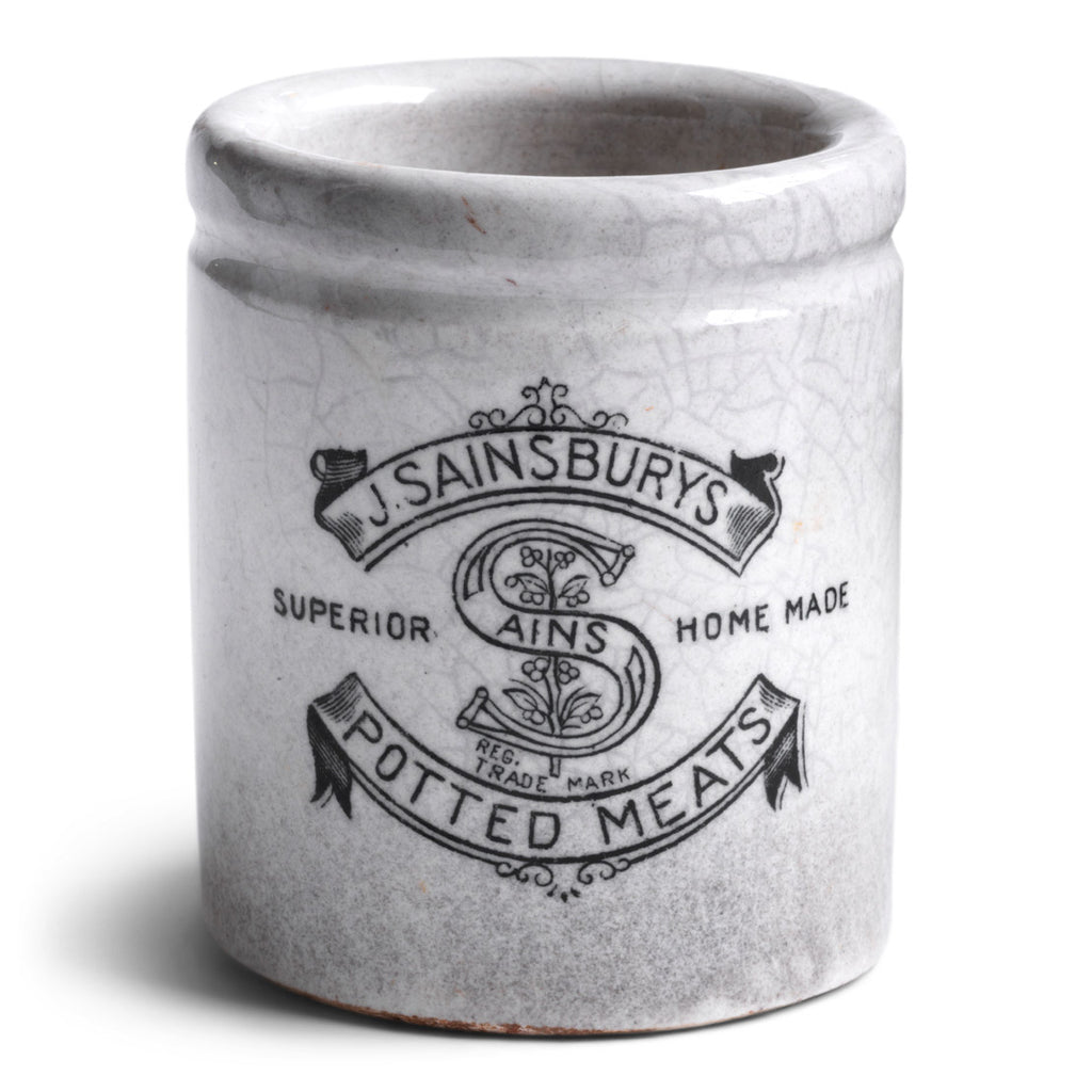 "An Edwardian Sainsburys ironstone jar branded ""J Sainsburys Superior Home Made Potted Meats"""
