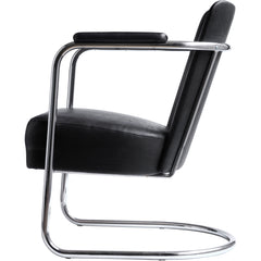 An elegant and rare tubular steel modernist armchair attributed to PEL (Practical Equipment Ltd) with continuous tubular chrome frame and horseshoe cantilever base. The chromium plated steel wraps around the back and forms the armrests, and it is upholstered in its original black leatherette.