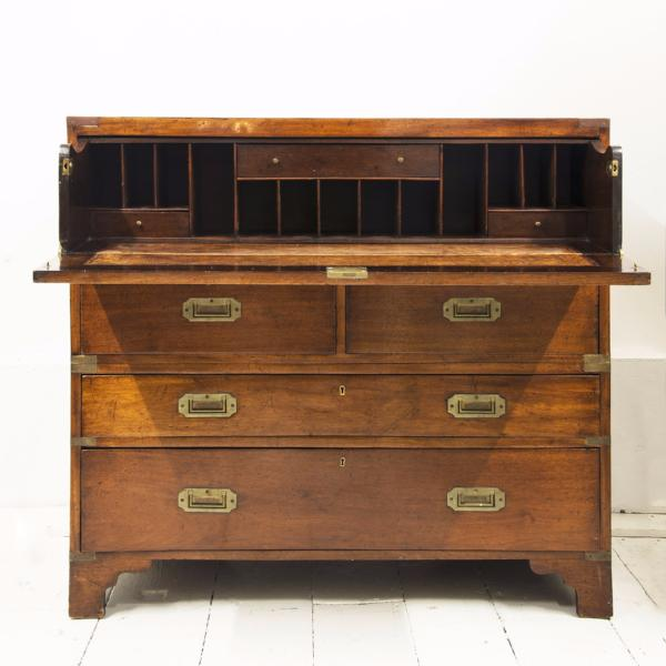 A very rare and important antique Regency colonial two-part campaign secretaire chest of drawers that was once the property of the US Embassy.