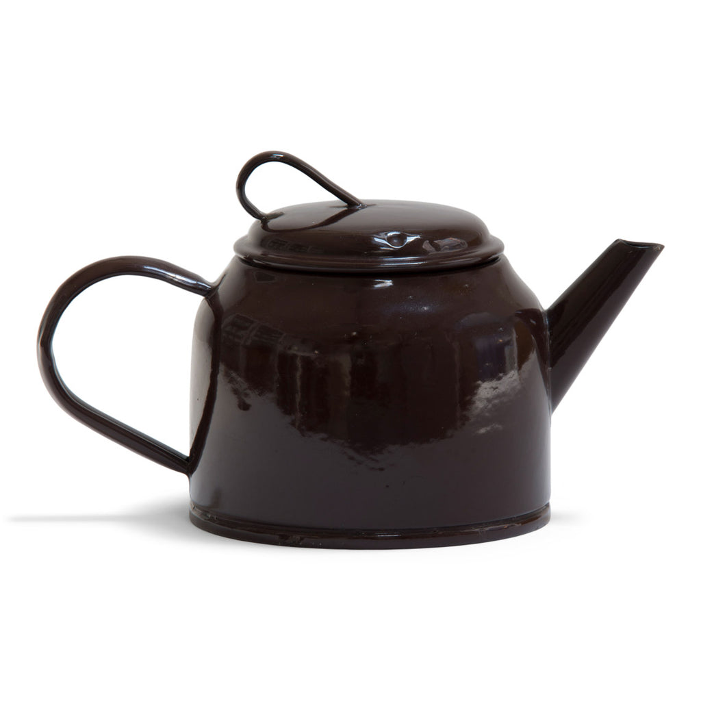 Chocolate Brown Enamel Teapot